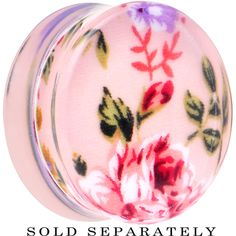 26mm Acrylic Pink Grandma's Wallpaper Flowered Saddle Plug | Body Candy Body Jewelry #bodycandy