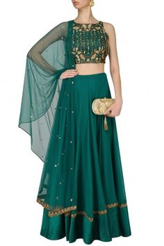 Renee Label  Teal Nouveau Embroidered Tassel Crop Top Lehenga Set  #happyshopping #shopnow #ppus