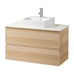 GODMORGON/ALDERN / TÖRNVIKEN Meuble lavabo av lav à poser 45x45 - blanc, effet chêne blanchi - IKEA