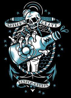 NikScarlett.com - Kustom Kreeps - Sailor's Grave T-Shirt Design