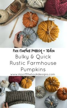 How to Crochet Rustic Farmhouse Pumpkins - MJ's off the Hook DesignsPleased Thanksgiving Weekend Canada! I'm so excited to place out a brand new Free sample for you! Learn on to learn to crochet these rustic farmhouse pumpkins. I've seen so many Crochet Home, Crochet Crafts, Yarn Crafts, Easy Crochet, Free Crochet, Ribbed Crochet, Crochet Fall Decor, Crochet Craft Fair, Autumn Crochet