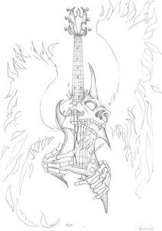 Happy Tattoo Roma: Angel And Devil Tattoo Designs Badass Drawings, Art Drawings Sketches, Tattoo Drawings, Skull Drawings, Tatoo Music, Music Tattoos, Guitar Tattoo Design, Guitar Sketch, Beautiful Flower Tattoos