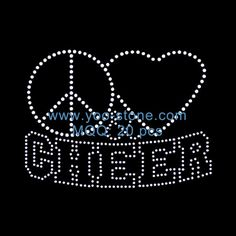Best Selling Products! Outline Peace Love Cheer Rhinestone Motif