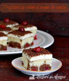 A delicious sour cherry cake with vanilla pastry cream and chocolate Cherry Cake, Sour Cherry, Romanian Desserts, Delicious Desserts, Dessert Recipes, Sweet Treats, Cheesecake, Deserts, Food And Drink