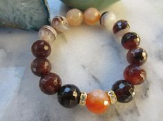 Autumn Colors, Coffee Brown with Crazy Lace Agates/Power-Healing-Grounding-Cleansing Stone