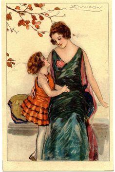achille mauzan | Vintage et cancrelats: Achille Mauzan : Mère et enfant