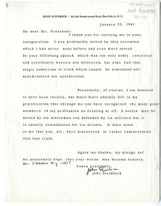 A letter from author John Steinbeck to President Kennedy, thanking him for his dedication to the arts. (From theWhite House Central Subject Files, Box 711, Folder: PP 6-1 Entertainers)