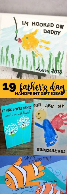 19 Father's Day Handprint Gift Ideas! 19 Father's Day Handprint Gift Ideas! Daycare Crafts, Baby Crafts, Toddler Crafts, Preschool Crafts, Toddler Art, Fathers Day Art, Fathers Day Crafts, Happy Fathers Day, Homemade Fathers Day Card