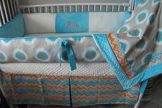 Gray blue orange CHEVRON Bumper Pad Baby Crib Set by abusymother, $50.00