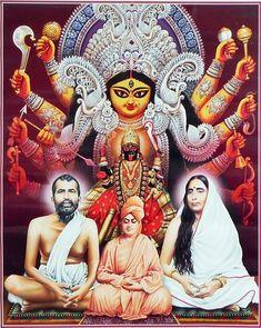 Durga, Kali with Ramakrishna Dev, Sarada Ma and Vivekananda - Hindu Posters (Reprint on Glazed Paper - Unframed) Durga Kali, Kali Hindu, Saraswati Goddess, Kali Mata, Kali Goddess, Durga Puja, Shiva Shakti, Hindu Art, Maa Kali Photo