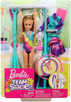 Barbie Team Stacie Doll Gymnastics Playset with Accessories Mattel Barbie, Barbie Kids, Barbie Dolls Diy, Doll Clothes Barbie, Barbie Doll House, Barbie Family, Little Girl Toys, Baby Girl Toys, Toys For Girls