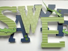 Baby Nursery Wall Letters - 6 Inch Letters, NAVY and GREEN alligator theme on Etsy, $9.00