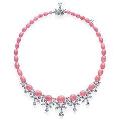 MIKIMOTO, Conch Pearl Necklace. 37 rare Conch pearls and 17.97ct of diamonds, set in 18k white gold.