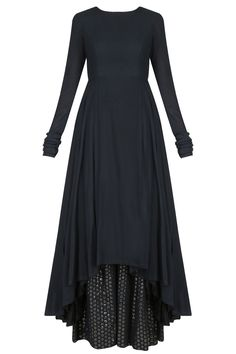 Black asymmetric kurta with box pleated pants set available only at Pernia's Pop Up Shop.