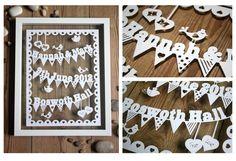 Wedding - Birth Sampler 'Bunting Tweets' Framed Paper cut