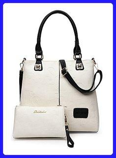 68157bcb5bef ilishop Letter Handbag Fashion PU Leather Shoulder Handles With Zipper Bag  Set (White) -
