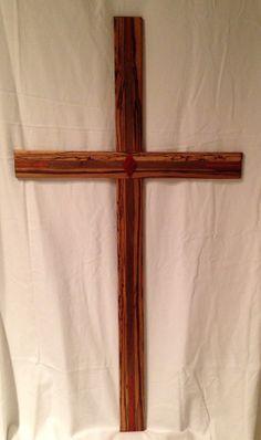 Zebrawood Cross with inlays. 42X22  Zebrawood by ArtistryGrace, $600.00