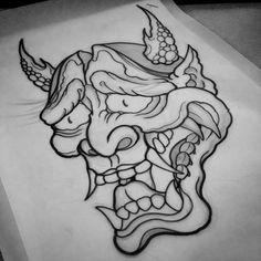 Hannya mask #art #artist #draw #drawing #tattoodesign #tattoo #design #tattooart #tattooartist #outline #outlines #hannya #hannyamask #hannyatattoo #evil #japanesetattoo #doodle #sketching #sketch #japanesetattooart