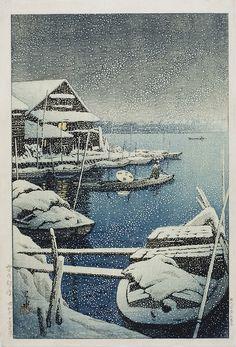 Kawase Hasui (1883-1957)Yuki no Mukojima (Snow at Mukojima)  Japanese & Korean Art
