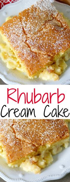 This spring Rhubarb Cream Cake recipe is pure comfort food just like Grandma used to make! This recipe is tried and true straight from Grandma Maurer& kitchen in central Minnesota! Such a family favorite! Rhubarb Cream Cake Recipe, Rhubarb Cake, Rhubarb Desserts, Just Desserts, Delicious Desserts, Rhubarb Recipes Torte, Healthy Rhubarb Recipes, Rhubarb Ideas, Cupcakes