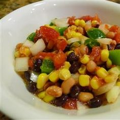 Spicy Bean Salsa Allrecipes.com can add green, yellow, red peppers. white and yellow corn. onion. tomato. beans. TIP: chop things small and see the burst of color!