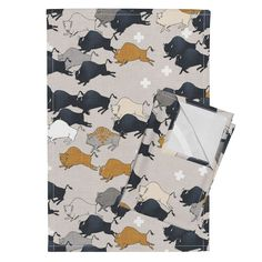 Orpington Tea Towels featuring Buffalo Stampede by nouveau_bohemian | Roostery Home Decor