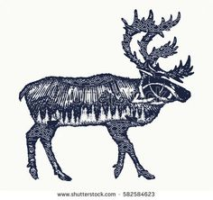 Reindeer tattoo art. Symbol tourism, travel, far north. Mountains, polar light, celtic pattern. Reindeer double exposure animals t-shirt design
