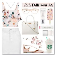 """""""Summer Date: The State Fair"""" by anamarija00 ❤ liked on Polyvore featuring Aquazzura, New Look, Topshop, Dorothy Perkins, Kate Spade, Tory Burch, Nails Inc., Jane Iredale, Estée Lauder and Belk Silverworks"""