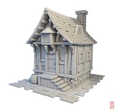 ArtStation - Little house, Hota Aisa Building Concept, Building Design, 3d Building, 3d Fantasy, Fantasy House, Environment Concept Art, Environment Design, Prop Design, Game Design