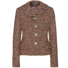 Dolce & Gabbana Tweed-Effect Knit Jacket ($1,160) ❤ liked on Polyvore featuring outerwear, jackets, blazers, brown, blazer jacket, dolce gabbana blazer, tweed jacket, dolce gabbana jacket and brown tweed jacket