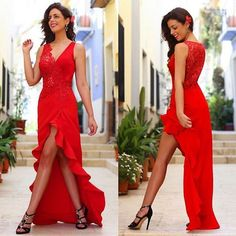81.36$  Buy here - http://viepg.justgood.pw/vig/item.php?t=jd37ank5551 - High Low Red Satin Lace Evening Dresses Formal Party Prom Bridal Gowns Custom