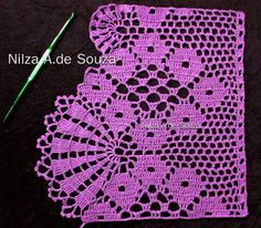 Crochet lace edging with point Crochet Dollies, Crochet Lace Edging, Crochet Borders, Crochet Squares, Love Crochet, Easy Crochet, Knit Crochet, Baby Cross Stitch Patterns, Crochet Stitches Patterns