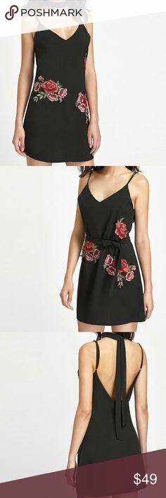 ARRIVAL!!  BLACK EMBROIDERED CAMI DRESS 10% OFF ON BUNDLES OF 2+ ITEMS   BLACK ROSE EMBROIDERED DRESS WITH NECK TIE. STRAPS ARE ADJUSTABLE! FABRIC IS POLYESTER AND HAS NO STRETCH. RUNS TRUE TO SIZE. NECK TIE CAN ALSO BE USED TO WRAP AROUND WAIST, SEE LAST IMAGE. Dresses