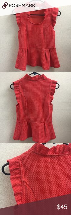 Bright Pink Anthro Top w/ Ruffle (Size Small) This is a bright pink peplum top from Anthropologie, Size Small. No defects. Looks great with a pair of skinny jeans or dress pants! Anthropologie Tops Blouses