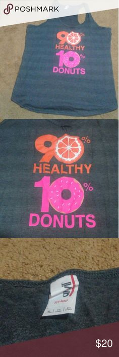 Fun Workout Tank Love donuts? Love working out? Me too! This was slightly too big and has been sitting in the back of my drawer. Time for a new home that will love it! Worn once. Perfect condition.   Who needs Nike when you can have donuts?? Anvil Tops Tank Tops