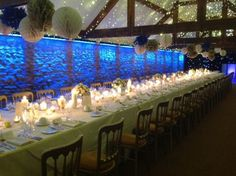Gorgeous Winter wedding inspiration at Birtsmorton Court....rather than the blue light, we could light it ourselves. Beams and brick - win