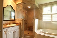 Corner Shower Remodel In Yorktown Virginia Criner Remodeling Beige Bathroom Spa