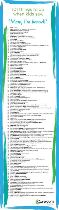 "101 Things to Do When Kids Say ""I'm Bored"" Nix boredom in the bud with this list of fun (and low cost, low stress) activities to keep your kids occupied and happy. ~ Love these ideas! Bored Kids, Im Bored, Bored Jar, Parenting Advice, Kids And Parenting, Parenting Classes, Natural Parenting, Peaceful Parenting, Parenting Styles"
