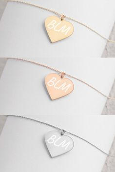 Show your support with these plated necklaces supporting the #BLM movement. Engraved Necklace, Plating, Necklaces, Trending Outfits, Unique Jewelry, Handmade Gifts, Vintage, Etsy, Kid Craft Gifts