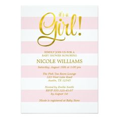 Little Princess Baby Shower Girl Pink White Gold 3 Invitation Baby