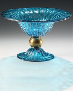 aqua and gold round Venetian glass bowl with bubbled pattern