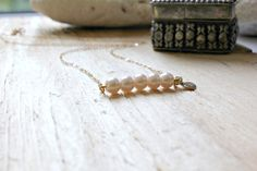 Pearl Necklace,Initial Necklace,Bar Necklace,Pearls,14k Gold,Heart Initial Necklace, Bridesmaid Gifts,Pearl Bar Necklace,Pink Pearls,Wedding by LetItBeLove on Etsy