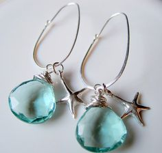 quartz  dangle earrings with cute little starfish charms
