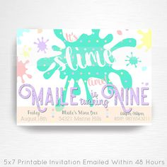 Slime Birthday Party Printable Invitation YOU Print Pastel Rainbow Slime Foam Beads