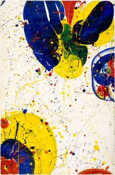 Sam Francis. Untitled 1964. Acrylic on paper, mounted on masonite, 40 7/8 × 27 3/8 inches (103.7 × 69.5 cm). The Solomon R. Guggenheim Foundation, Peggy Guggenheim Collection, Venice Sam Francis Foundation, California / Artists Rights Society (ARS), New York Guggenheim Museum