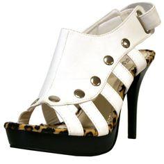 White  Leopard Studded High Heel Women's Sandal Pumps