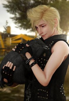 Awwww so cute - Modern Final Fantasy Xv Prompto, Final Fantasy Collection, Final Fantasy Characters, Fantasy Series, Prompto Argentum, Dc Anime, Noctis, Manga Games, Kingdom Hearts