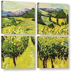 ArtWall Allan Friedlander A Good Year 4-Piece Gallery-Wrapped Canvas Square Set, Size: 48 x 48, Brown