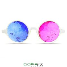 GloFX White 3D Kaleidoscope Glasses- Sapphire & Magenta Real Glass Crystals Diffraction Glasses Deep Future Effect