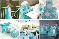DIY Tiffany themed centerpieces and wedding card box.